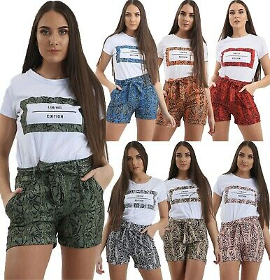 Womens Ladies Leopard Animal Snake Print Slogan T-shirt & Short 2 Pcs Co Ord Set