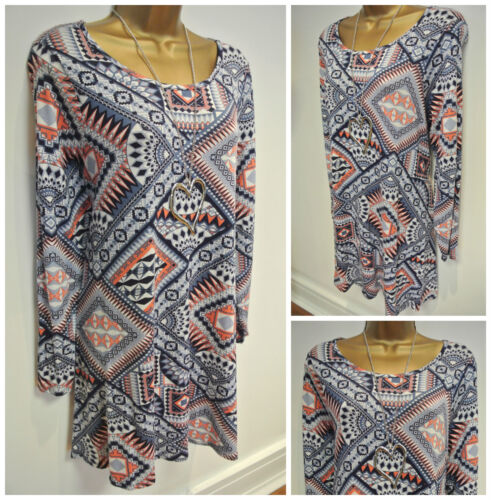 Nouvelle ex chainstore bleu orange ivoire GEO imprimer tunique robe 14 16 18 20 22 26 30