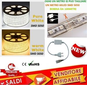 STRISCIA-LED-FLESSIBILE-STRIP-LED-5050-INTERNO-ESTERNO-220V-BOBINA-DA-1-A-100-M