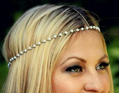Bohemian Women Metal Pearl Head Chain Jewelry Forehead Headband Hair band HO UK