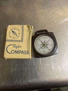 """Taylor Showay Bakelite Compass Rochester NY USA 1.5"""" Square Vintage Antique"""