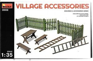 BL MiniArt Village Accessories, Wooden Fence Benches in 1/35 539 For Dioramas ST