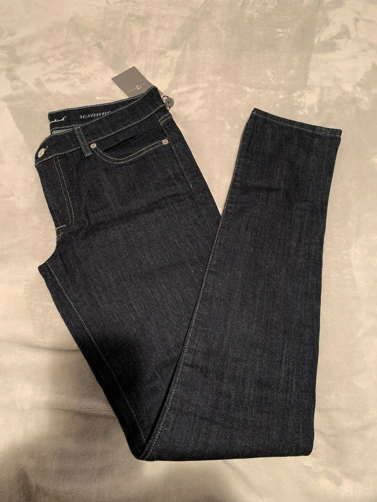 7 FOR ALL MANKIND ROXANNE SKINNY JEANS  WITH blueE CRYSTALS Size 31