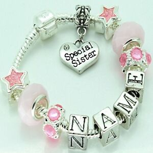 Image Is Loading S Childrens Personalised Any Name Pink Charm Bracelet