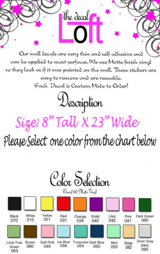 GIRLS NAME /& STARS DECAL WALL VINYL DECOR STICKER KIDS WALL LETTERING