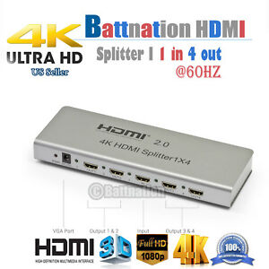 Full HD HDMI 1in 2out//1in 4out 4K 2.0 Splitter Amplifier Repeater 1080p 1X2 1x4