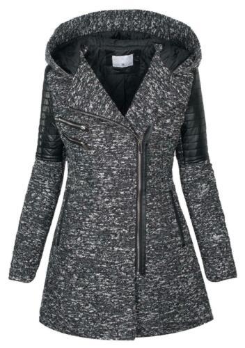 Warmer Damen Winter Wollmantel melierter Woll Parka Jacke Kunstleder NEU B270