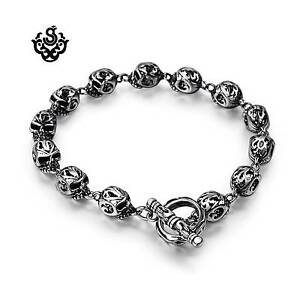 Silver-skull-bracelet-stainless-steel-chain-soft-gothic-fashion-jewelry-solid