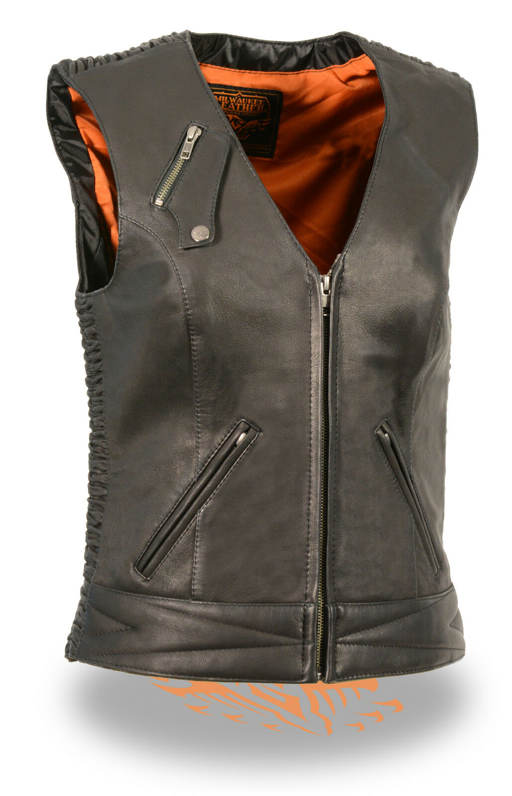 WOMEN'S MOTORCYCLE RIDING BUTTER SOFT BLK LEATHER ZIPPER VEST REFLECTIVE PIPING