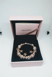 PANDORA-Rose-MOMENTS-Silver-Bracelet-with-Rose-Clasp-18cm-including-charms