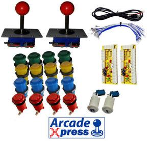 Arcade-Game-Kit-x2-Manettes-De-Jeu-Zippy-Rouge-16-boutons-2-joueurs-USB-Mame