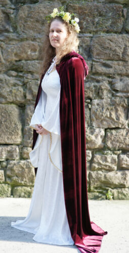 Medieval//Larp//Re enactment//Pagan//Wicca//HandFast BURGUNDY HOODED CLOAK all sizes