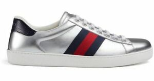 6d35ac098 NIB Gucci Mens New Ace Silver Argento Blue Red Lace Up Low Top ...