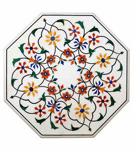 White Marble Dining Side Table Precious Marquetry Inlay Floral Home Decors H492