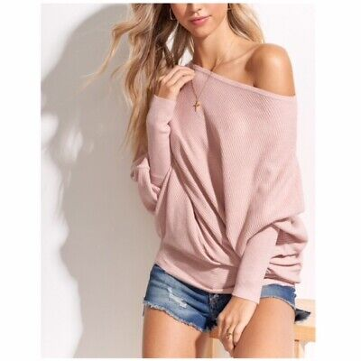 Blush Slouchy Off The Shoulder Knit Oversized Sweater Casual Top Womens