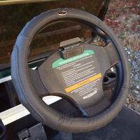 Golf Steer Leather Golf Cart Steering Wheel Cover, Black, 13.25-13.6 Wheels