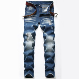 Mens/' Stretch Ripped Skinny Jeans Distressed Frayed Slim Fit Biker Denim Pants