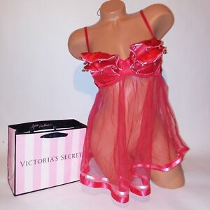 312e72b1b663f Image is loading Victoria-Secret-Lingerie-Babydoll-Teddy-Red-Sheer-Bells-