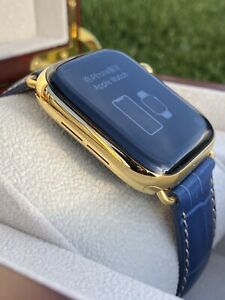 24K-Gold-Plated-44MM-Apple-Watch-SERIES-5-Stainless-Steel-Blue-Band-GPS-LTE