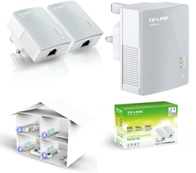 TP-Link 600 Mbps Nano Powerline Adapter Starter Kit, No Configuration Required,
