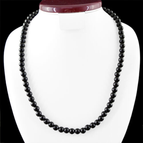 GENUINE AAA 254.10 CTS NATURAL UNHEATED RICH BLACK SPINEL ROUND BEADS NECKLACE