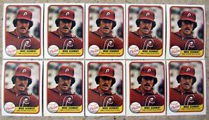 1981 Fleer #640 Mike Schmidt Philadelphia Phillies 10ct Card Lot