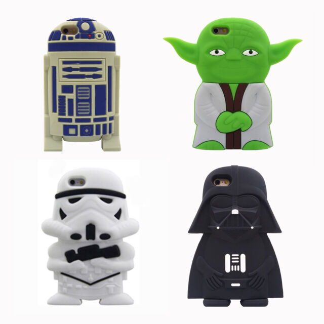 For Iphone 3D Cartoon star wars extraterrestrial alien robot Soft silicone case