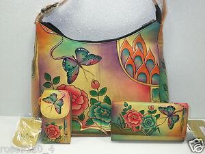 Anuschka-Hand-Painted-Leather-Hobo-Handbag-Phone-Case-Wallet-Antique-Rose-NWT
