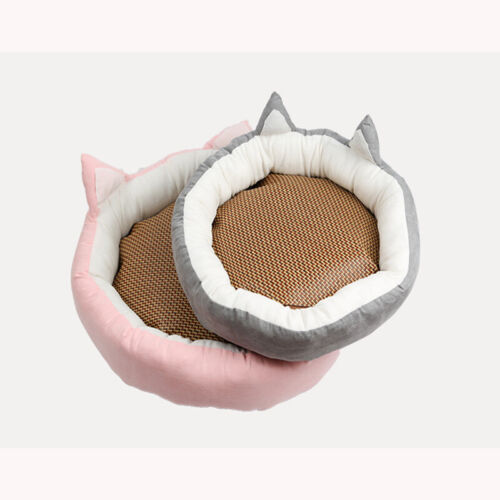 Pet Cat Dog Round Bed Cute Cat Ears Nest Soft Warm Washable Cushion All Seasons