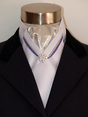 ERA Metallic  Silver with White Satin Stock Tie with 2 Pipings & Pin - NEW