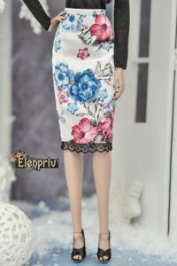 bafe87cc6f Image is loading ELENPRIV-floral-printed-white-silk-skirt-for-Fashion-