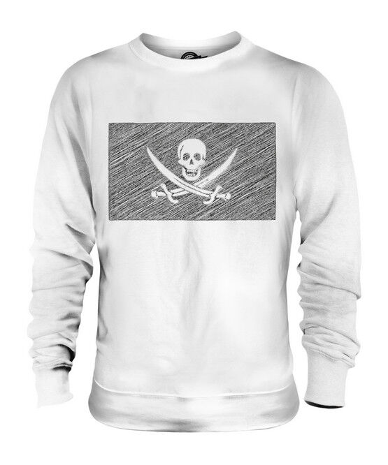 PIRATE SCRIBBLE FLAG UNISEX SWEATER  TOP GIFT SKULL CROSSBONES