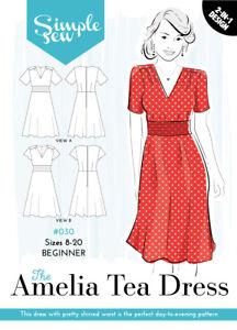 b96fe1d7f6493 Womens LadiesBeginner The Amelia Tea Dress UK 8-20 Sewing Pattern   eBay