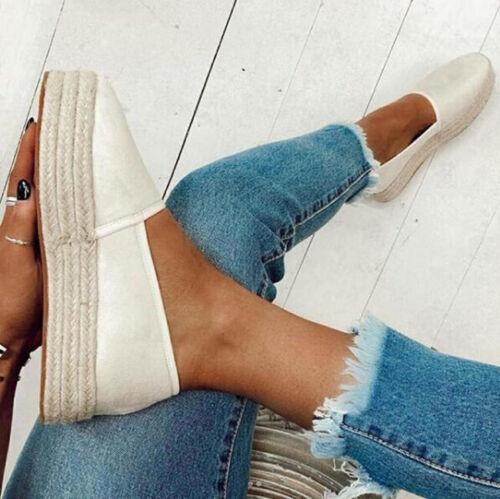 Women  Espadrilles Pumps Summer Slip On Loafers UK Shoes Size 2.5-8.5