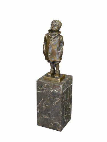 22 cm 2111 Bronze Figur Junge Statue Skulptur auf edlem Marmorsockel H