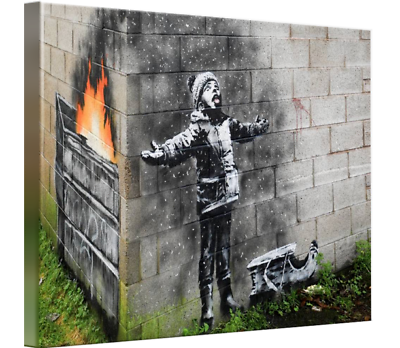 Details about  /Banksy Season/'s Greetings fire canvas wall art Wood Framed Ready to Hang XXXL
