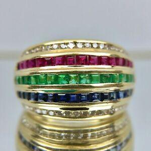 4Ct-18K-Yellow-Gold-Over-Princess-Cut-Ruby-Emerald-Sapphire-Diamond-Ring-Band