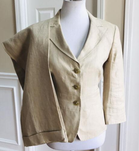 MAXMARA Women Linen Elegant Beige Pant Suit Size 8 - image 1