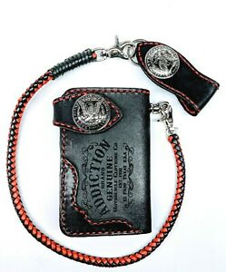 Biker-Chain-short-Wallet-motorcycle-trucker-thick-leather-engraved-Red-stitch