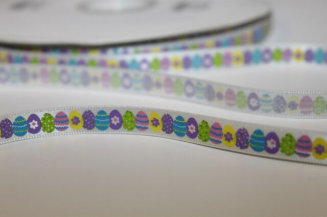 Easter egg and chick feet satin 16mmx10m gift bonnet decorating ribbon egg hunt