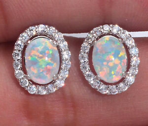 UK-SELLER-Silver-Rhodium-Plated-WHITE-LAB-FIRE-OPAL-TOPAZ-Stud-Earrings-13mm