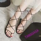 Summer Womens Clip Toe Casual Lace Up Strap Summer Roman Flats Sandals Shoes SZ