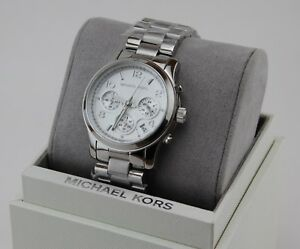 2d67925632a9 Image is loading NEW-AUTHENTIC-MICHAEL-KORS-RUNWAY-CHRONOGRAPH-SILVER-WOMEN-