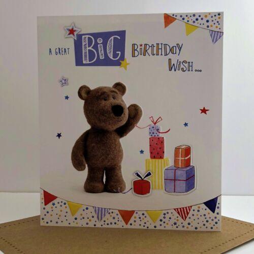 ICG Great Big Birthday Wish Card Cute Barley Little Brown Bear Children/'s//3392