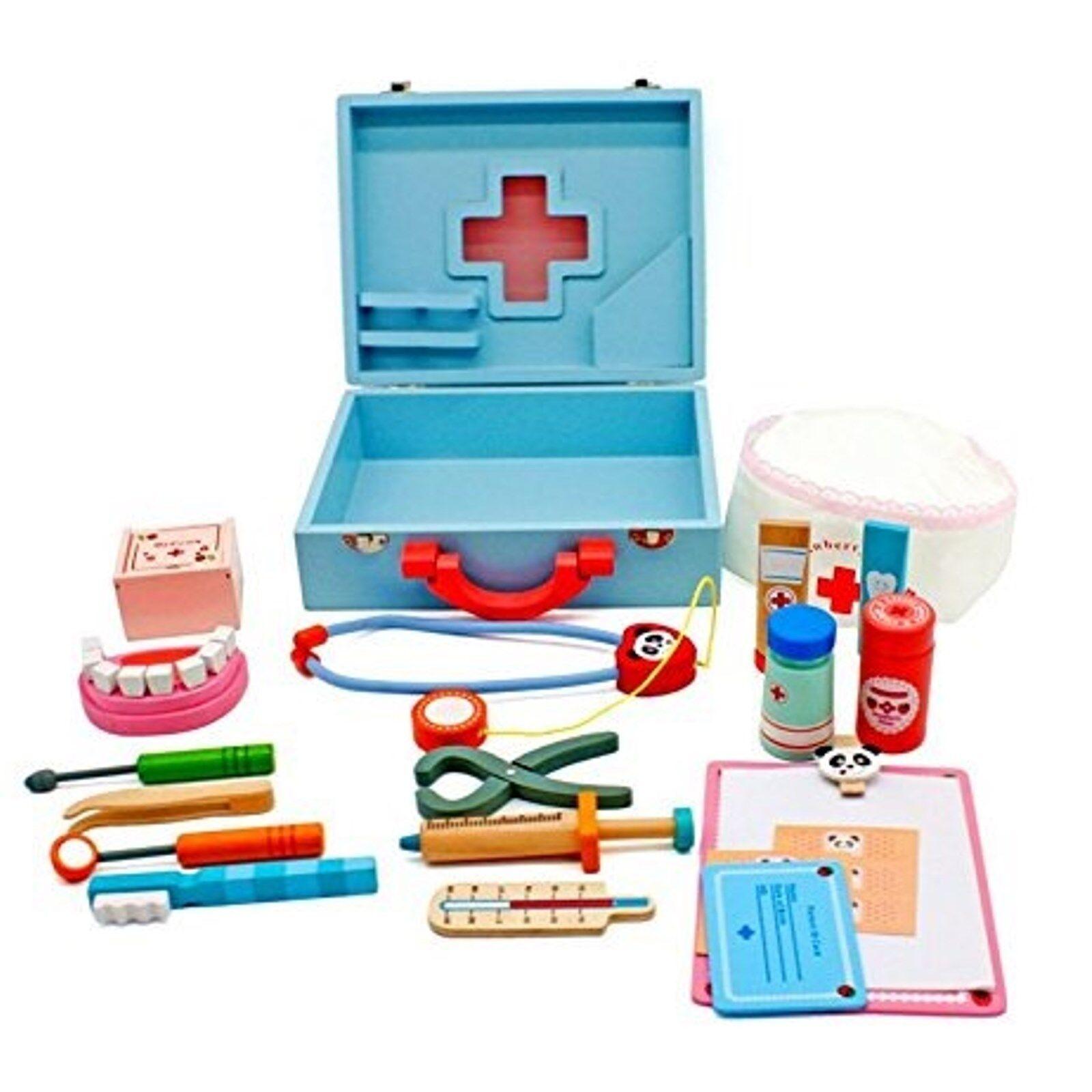 Kinder Arztkoffer mit Zubehör aus Holz Doktorkoffer Doktorset Spielzeug blau    Modernes Design