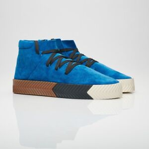 newest d9d5c bc86f Details about NIB adidas x Alexander Wang AW Skate Suede Shoes Mid Blue  Bluebird Black AC6849