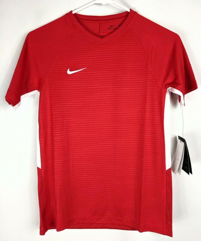 Nike Dry Soccer Workout Shirt Boys Youth Sz Medium Unisex Red Short Sleeve Sport