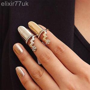 Image Is Loading Uk New Gold Flower Diamante Nail Art Claw
