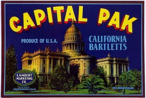 *Original* CAPITAL PAK Sacramento Government Building Pear Label NOT A COPY!