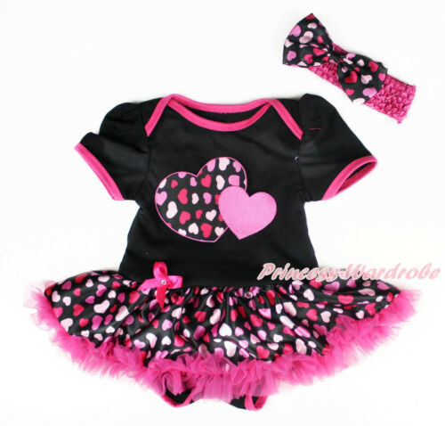 Valentine Hot Pink Twin Heart Black Bodysuit Hot pink Heart Baby Dress NB-18M